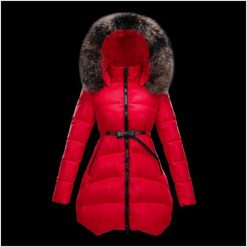 809e8f334650 Soldes moncler manteau femme doudoune fourrure rouge en soldes ...