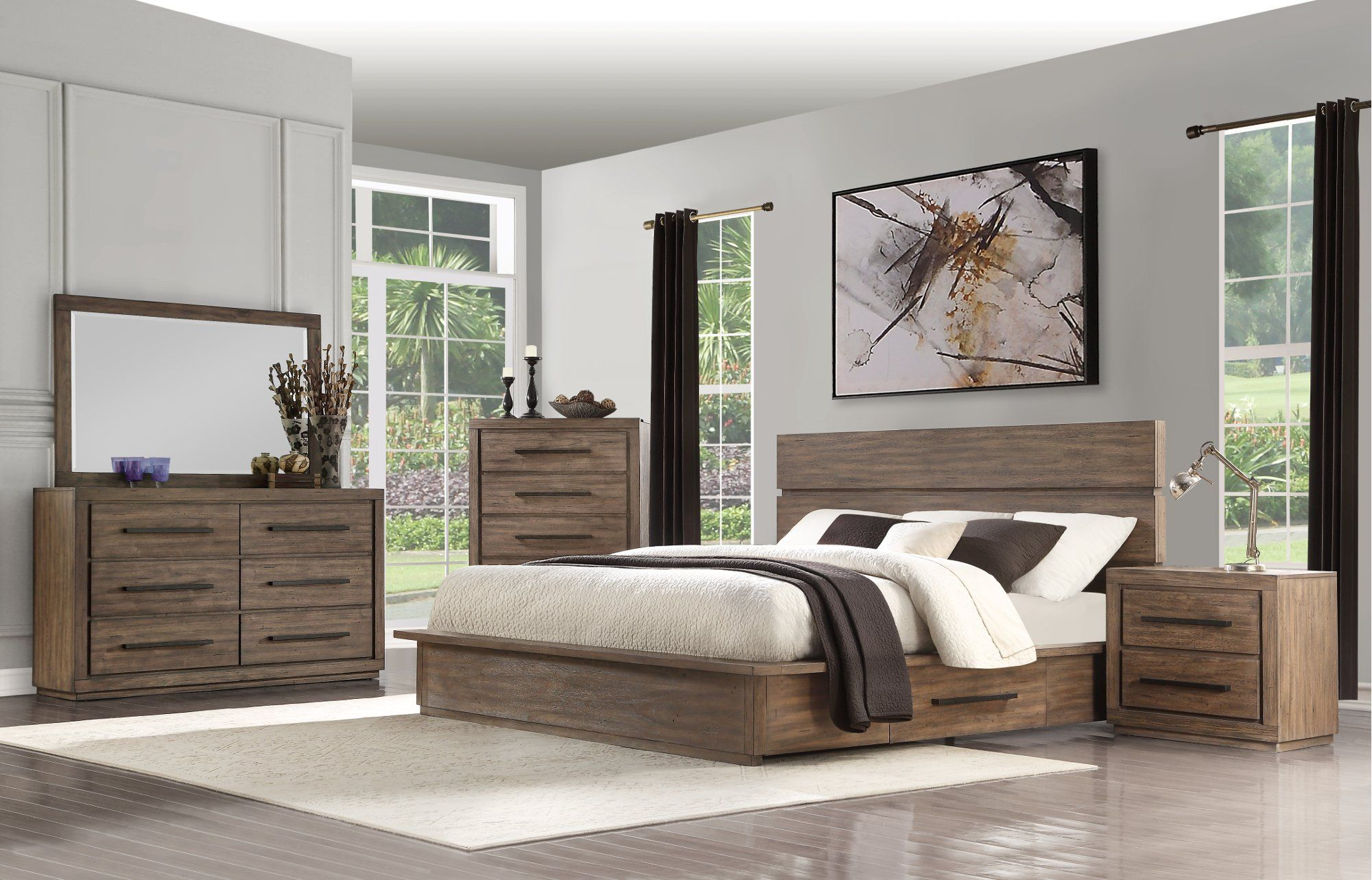 Modern Rustic Pine 4 Piece Queen Bedroom Set Haven