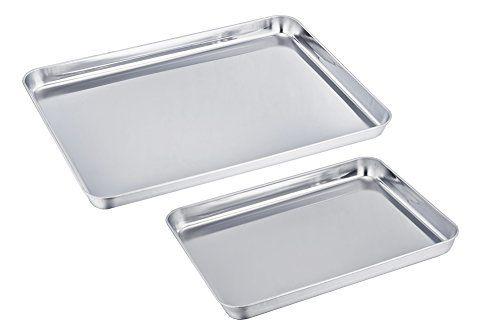 Teamfar Stainless Steel Baking Sheet Bakeware Cookie Pan Tray Set Professional Non Toxic Healt Clean Dishwasher Stainless Steel Cookie Sheet Toaster Oven Pans