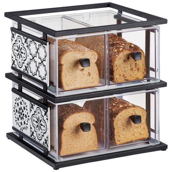 "Cal-Mil 4025-85 Granada 2 Tier Melamine Tile Bread Display Case - 19"" x 14 1/4"" x 20 1/4"""