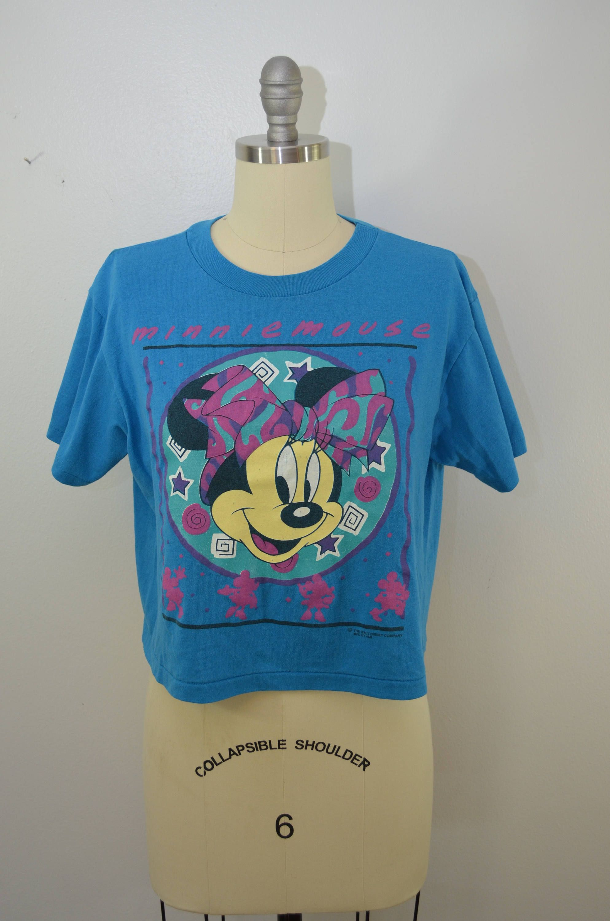 601017ca36123 Vintage MINNIE MOUSE crop top t-shirt 1980 s made in usa Medium Walt Disney  Company by ilovevintagestuff on Etsy