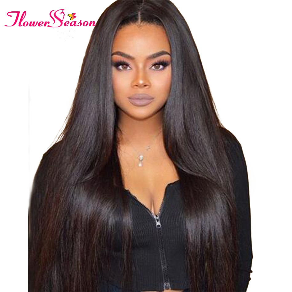 114.54$  Watch here - http://alizxg.worldwells.pw/go.php?t=32745860622 - 8A Thick 150 Density Virgin Brazilian Full Lace Front Wigs With Baby Hair Silky Straight Human Hair Lace Front Wigs Black Women 114.54$