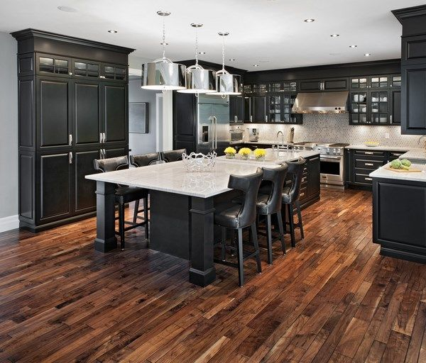 Wood Flooring · Kitchen Design Black Kitchen Cabinets Engineered ...