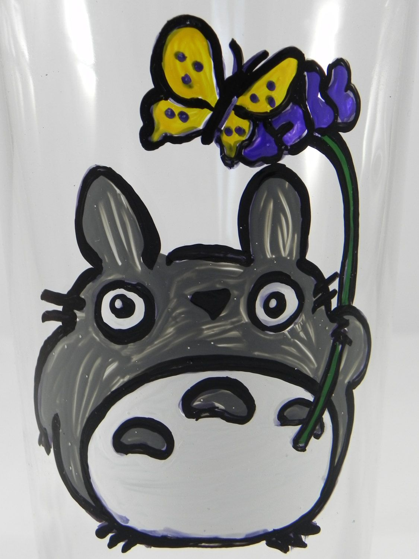 Totoro Hand Painted Pint Glass My Neighbor Totoro Anime