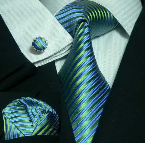 peacock blue and green stripe necktie set jpm44c toramon necktie