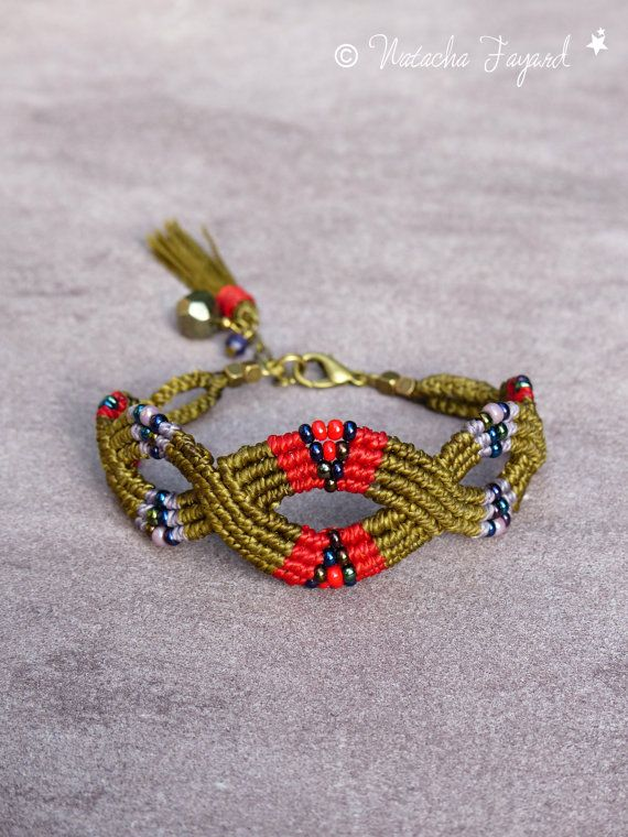 Bohemian boho friendship macrame bracelet bronze khaki red purple adjustable / jewelry designer / made in France / OOAK