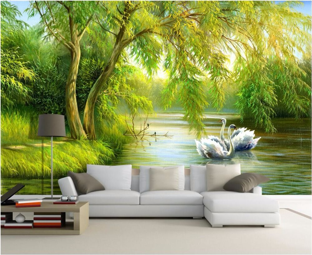 Custom mural photo 3d living room wallpaper Swan lake