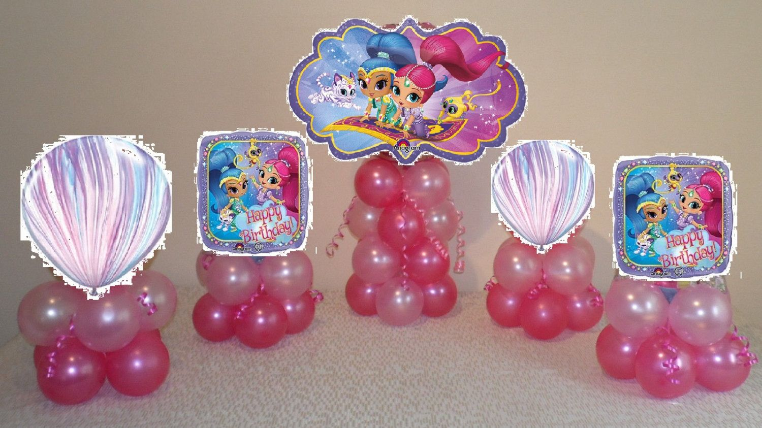 5 Shimmer And Shine Birthday Balloon Table Decoration Centerpiece