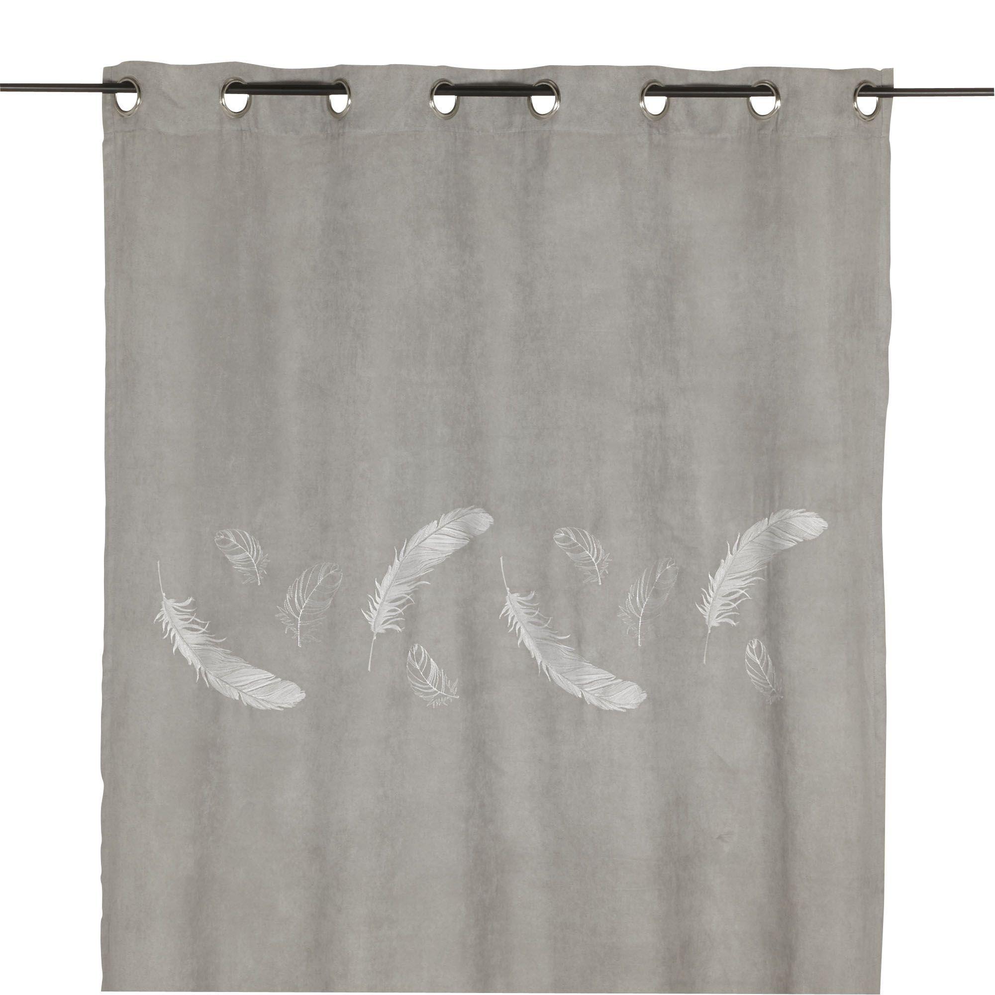 Rideau à œillets gris 140x250cm Gris - Plume - Les rideaux ...