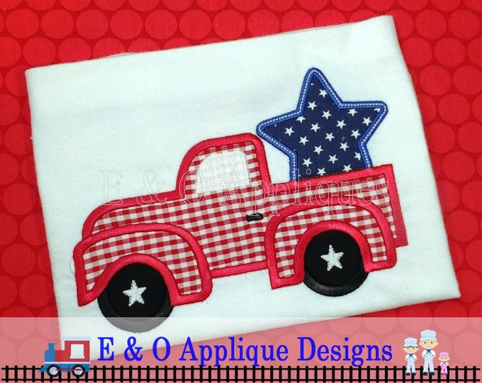 Monogram Star Applique Design Independence Day July 4th Embroidery