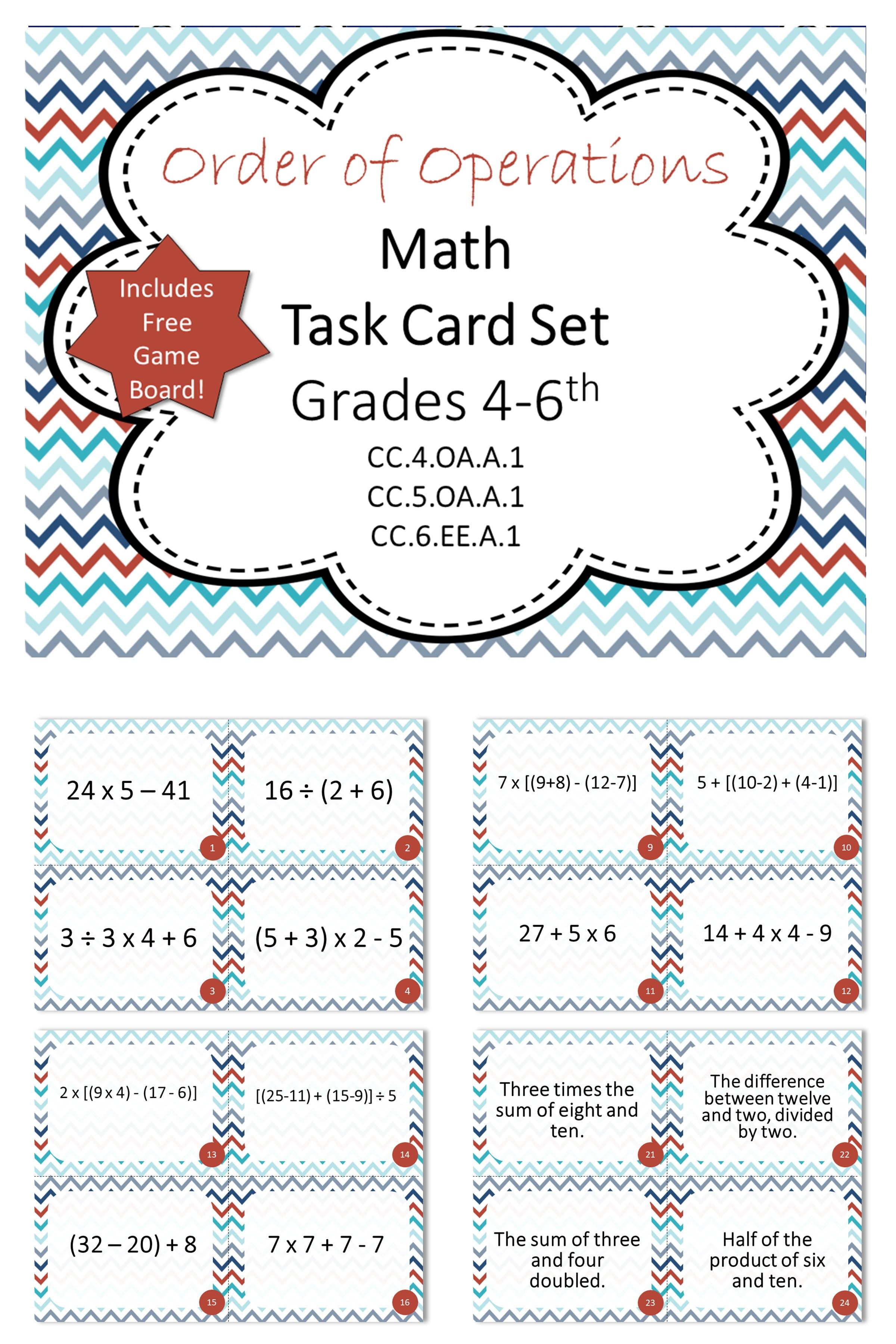 5th Grade Order Of Operations Math Task Cards