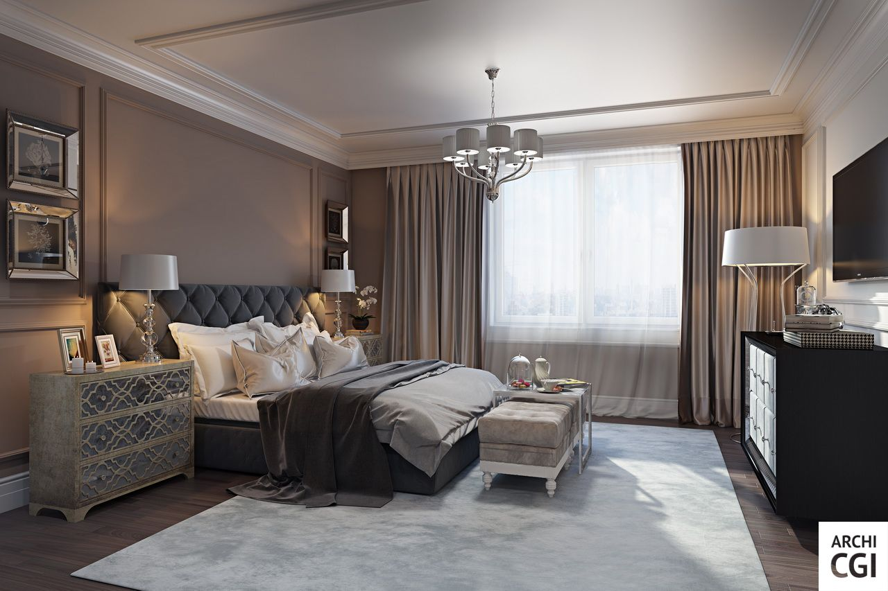 Although bedrooms should be practical and comfortable before all, they must also look great. The 3D #rendering of this elegant design is brought to you by archicgi.com - visit our website and find out more.