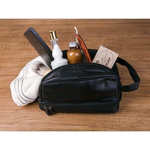 7fa7c9ad9e Dwellbee Classic Dopp kit and Toiletry Leather Bag