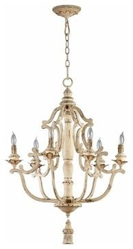 Distressed White Vintage French 6 Light Chandelier Transitional