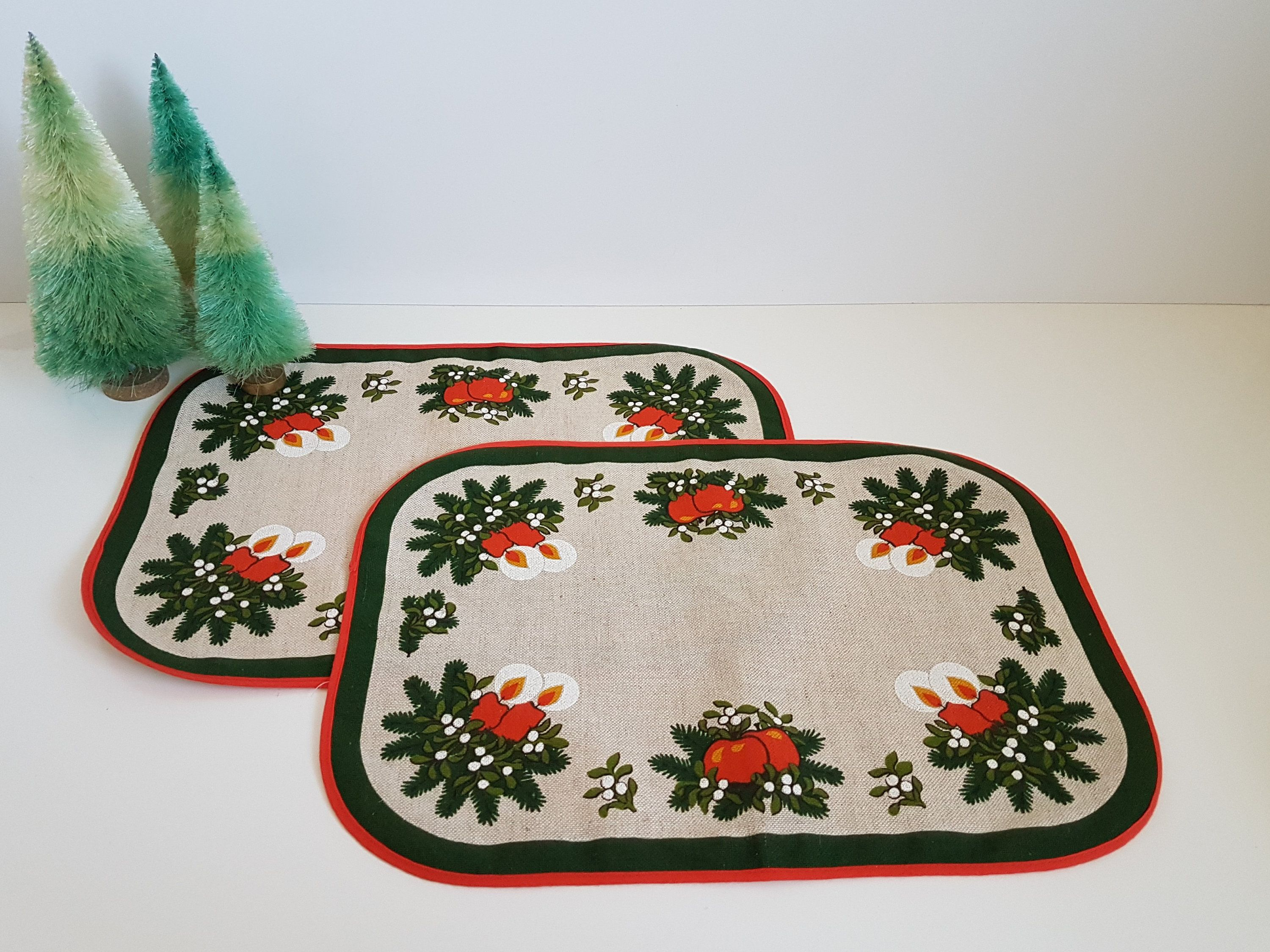 Vintage Christmas Placemats Scandinavian Table Linens Set Of Two Christmas Placemats Vintage Christmas Placemats
