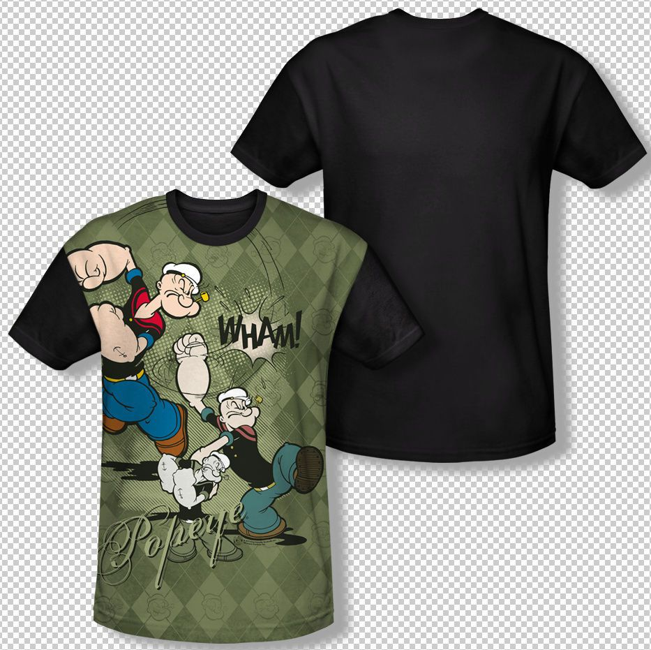 f56e11f9 Popeye The Sailor Man Argyle Punch Wham All Over Front Sublimation T-shirt  Top Official Licensed Popeye T-shirt All Over Sublimation Black Back Print  # ...