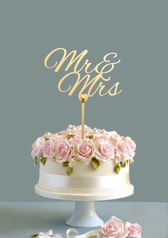 Wedding Cake Topper Mr Mrs Gold Wooden Custom