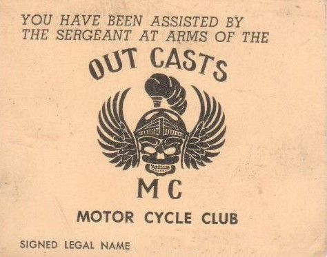 Outcasts MC New Zealand Sergeant of Arms card | Detroit | Biker