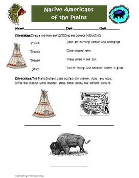 FREE Plains Native Americans Worksheet Modified for Lower Level ...