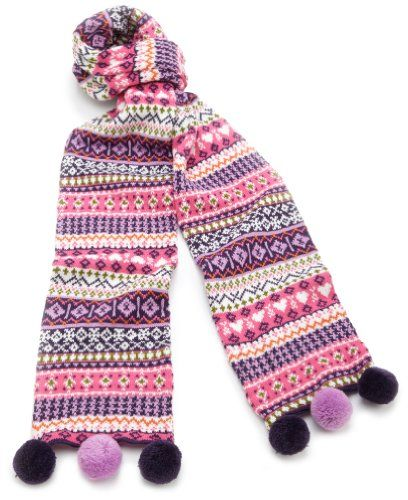 Hartstrings Girls 7-16 Big Fair Isle Sweater Scarf | Pom Pom ...