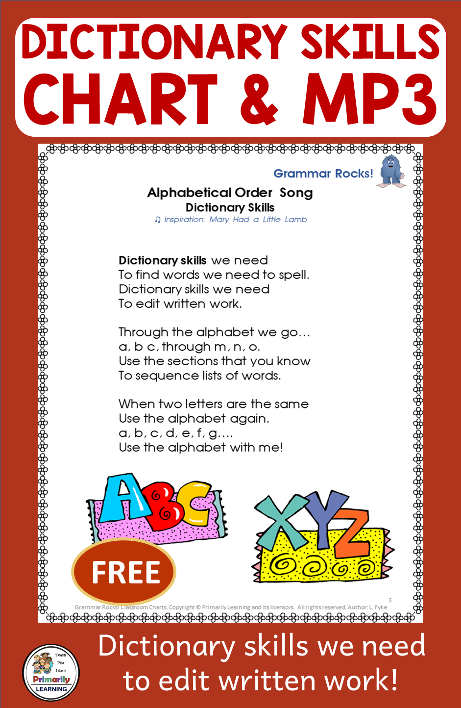 Dictionary Skills Practice Song FREE Distance Learning