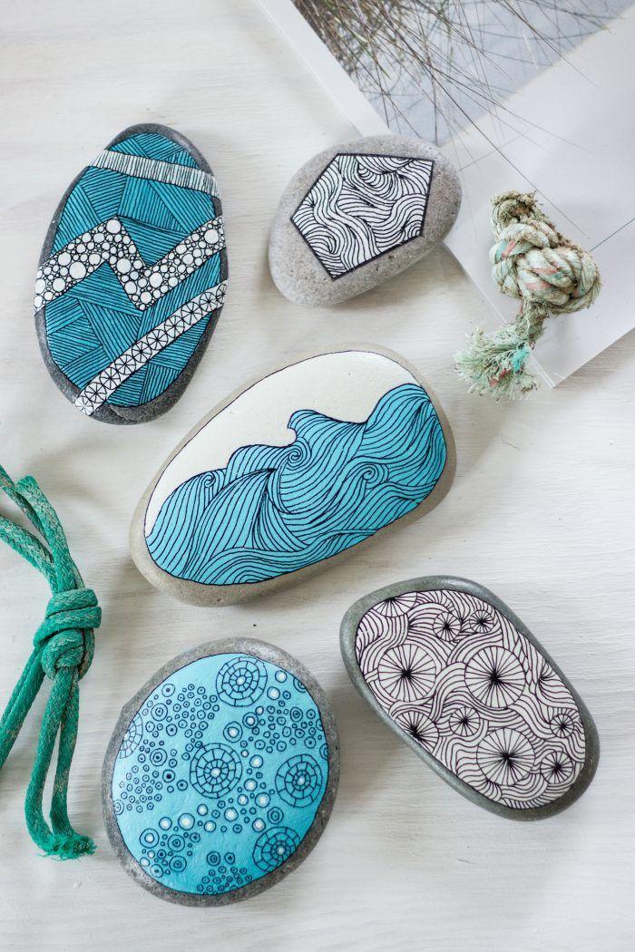 Habt ihr beim Strandspaziergang Steine gesammelt? Hier ...