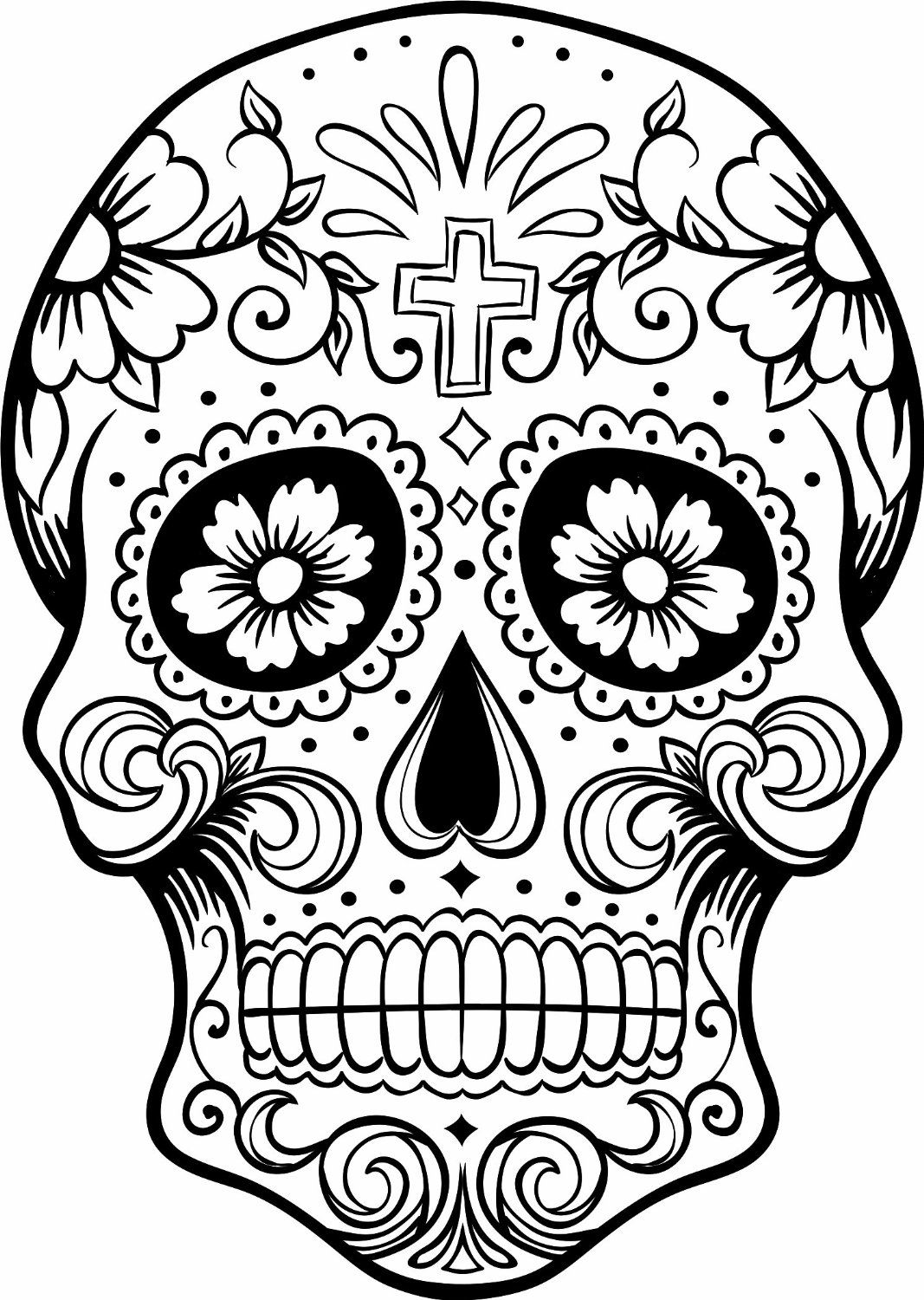 Day Of The Dead Skull Coloring Pages Skulls Skull