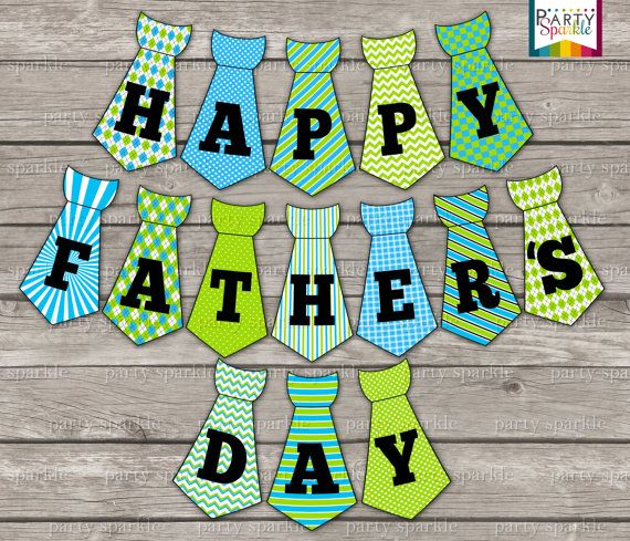 picture about Happy Father's Day Banner Printable known as Quick Down load - Joyful Fathers Working day Tie Bunting Banner