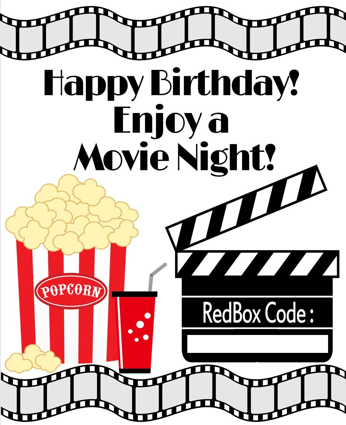 Redbox Printable Birthday Gift Tag