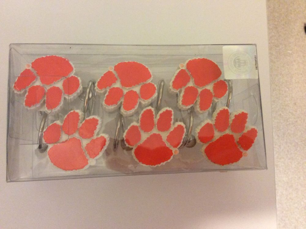 Clemson Tiger Paw Shower Curtain Rings
