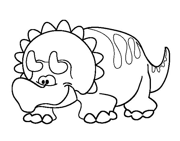 Dibujos De Prehistoria Para Ninos Para Colorear: Dibujo De Triceratop Bebé Para Colorear