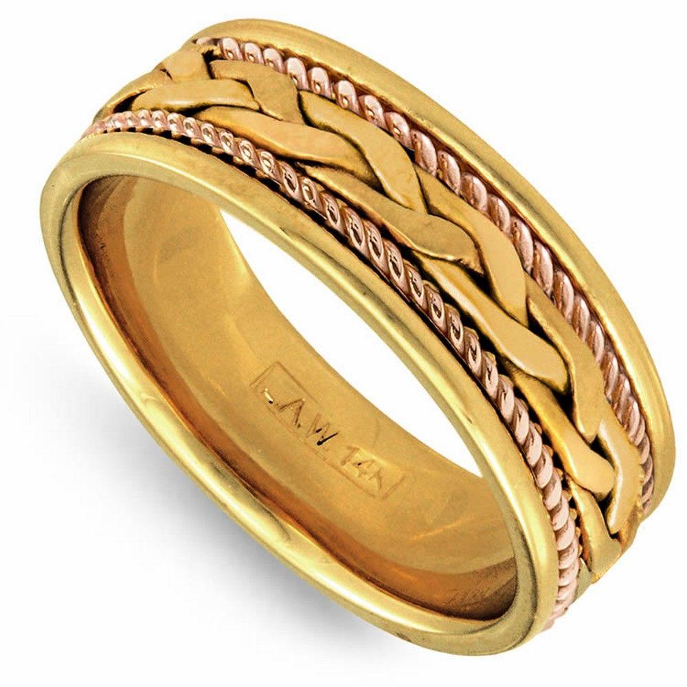 18K Gold 7mm Yellow French Braid Milgrain Rope Wedding