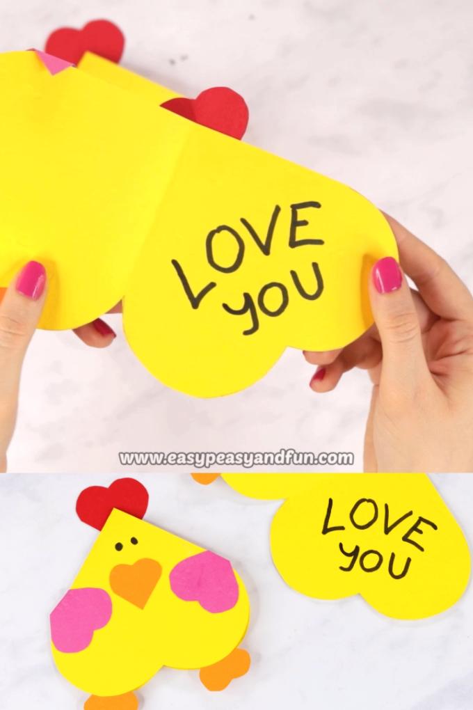 Heart Chicken Valentines Day Craft for Kids