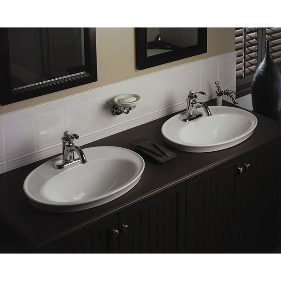 shop kohler serif white drop in oval bathroom sink with overflow at rh pinterest com