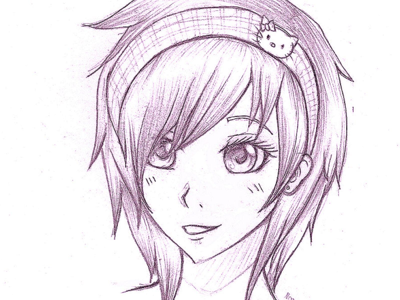 Картинки для срисовки аниме девушки карандашом