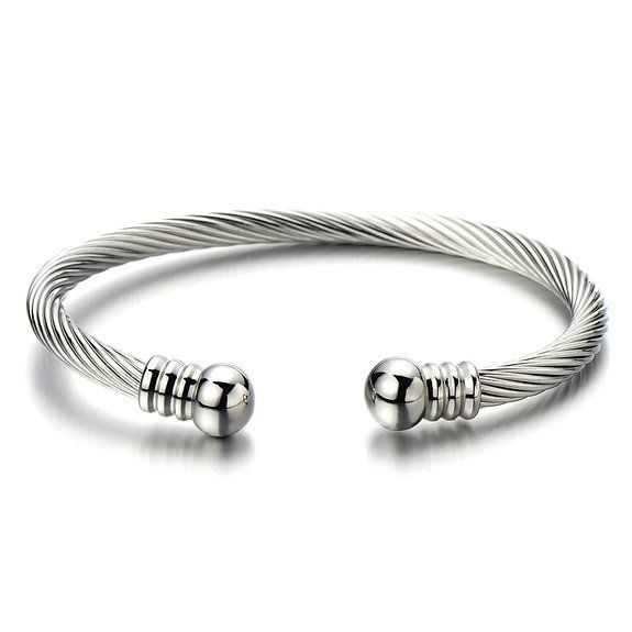 COOLSTEELANDBEYOND Mens Women Elastic Adjustable Stainless Steel Twisted Cable Open Cuff Bangle Bracelet Silver Color