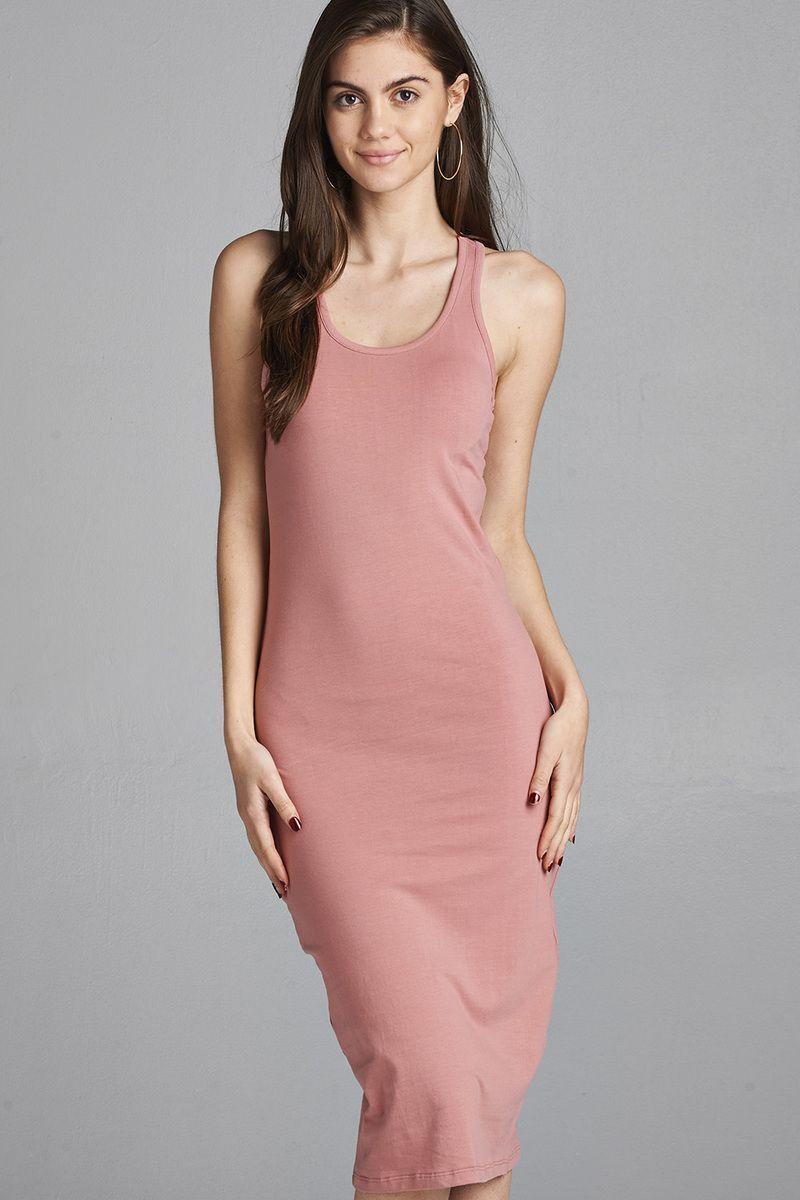 Ladies Fashion Sleeveless Racerback Midi Dress Imported S M L 92 Cotton 8 Spandexdusty Pink Act Racerback Midi Dress Midi Dress Sleeveless Fashion [ 1200 x 800 Pixel ]