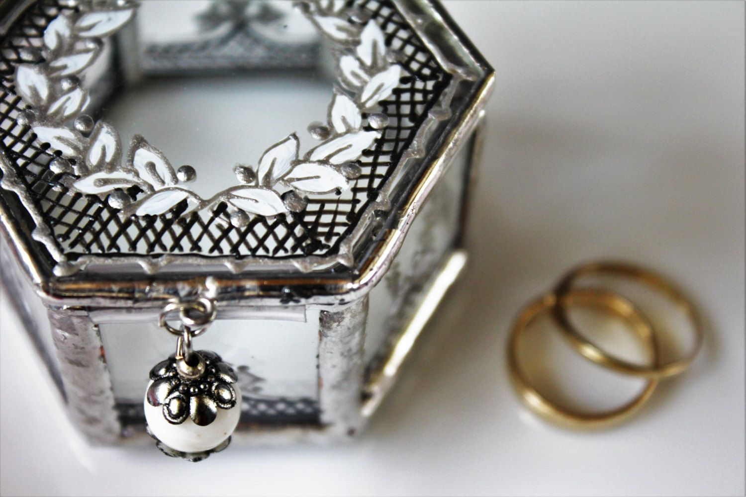 Fairy Tale Wedding Ring Bearer Box Romantic Hand Painted Glass Silver Engagement Ceremony Accessories
