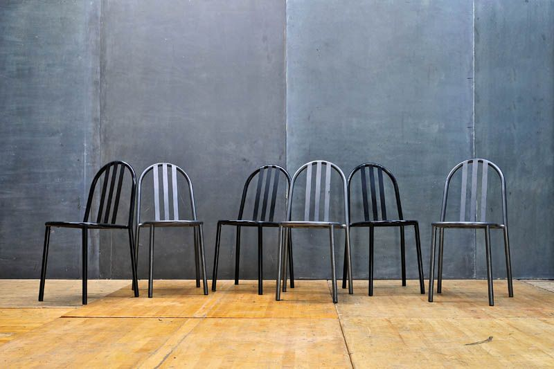French Industrial Mallet Stevens Chairs : 20th Century Vintage Industrial  Modern50 Style
