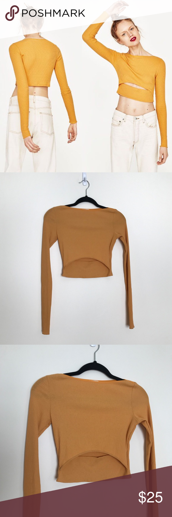 e94b9dc343968 Zara Join Life Yellow Long Sleeve Crop Top Cutout Zara Join Life Yellow  Long Sleeve Crop Top Cutout Color is deep yellow (in between yellow and  orange) Size ...
