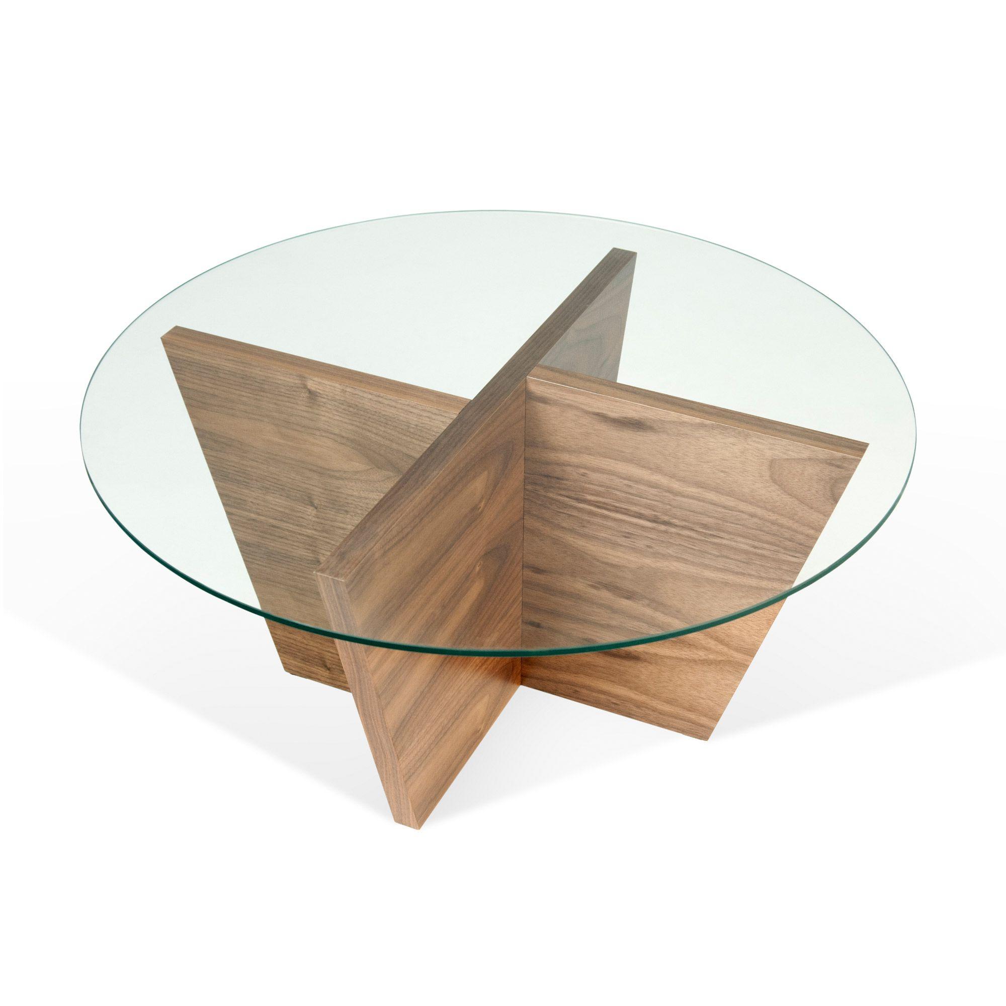 Table Basse Design Ronde En Bois Plateau Verre Diam80cm Oliva