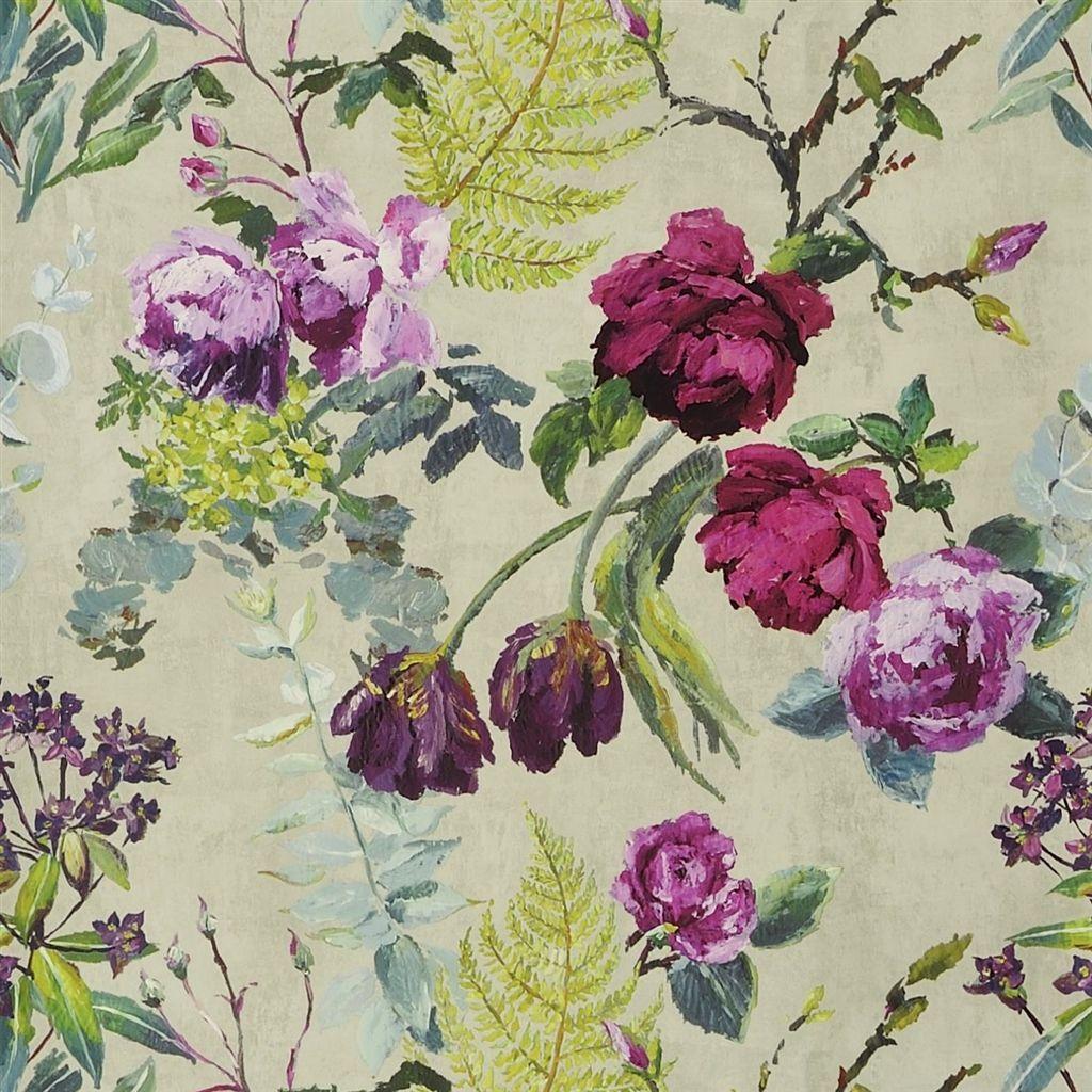 tulipani linen wallpaper Designers Guild common area