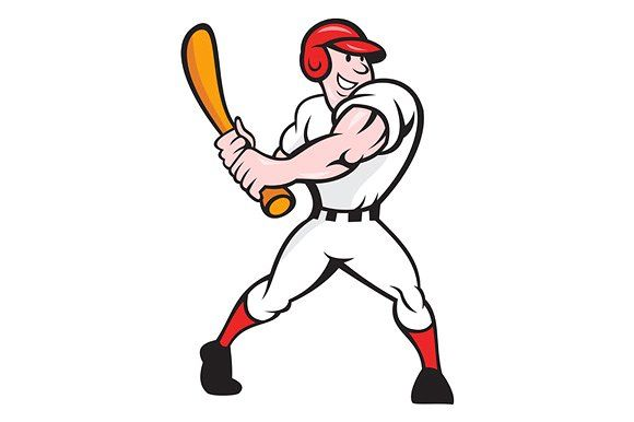 Baseball Player Batting Cartoon Baseball Players Cartoon Illustration Cartoon