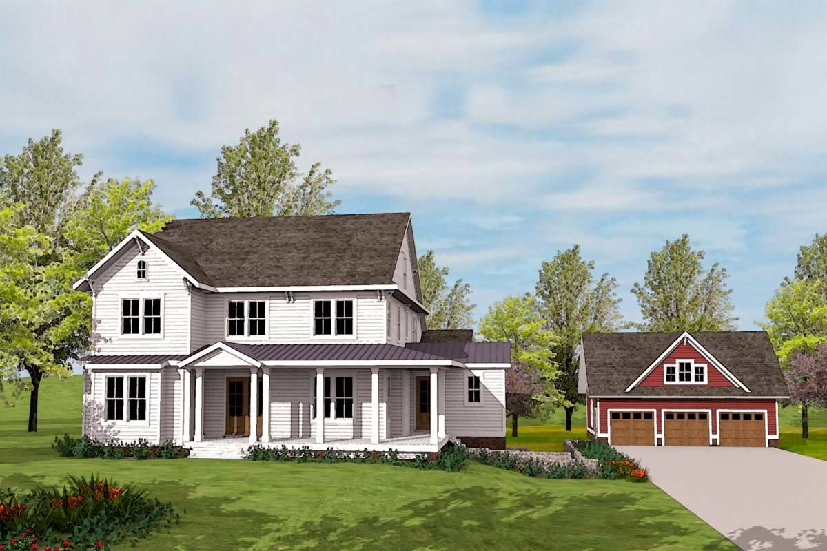 Plan 500020vv Modern Farmhouse Plan With Matching Detached Garage Modern Farmhouse Plans Farmhouse Plans Modern Farmhouse