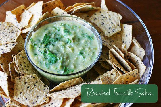 Roasted Tomatillo Salsa from InspiredRD.com #glutenfree