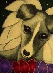 Art: LOVELY GREYHOUND ANGEL DOG SPRING FLOWERS FROM HEAVEN 2 by Artist Cyra R. Cancel