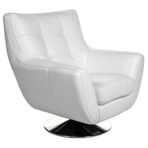 Bruno Accent White Leather Swivel Chair From Z Gallerie Interiordesign