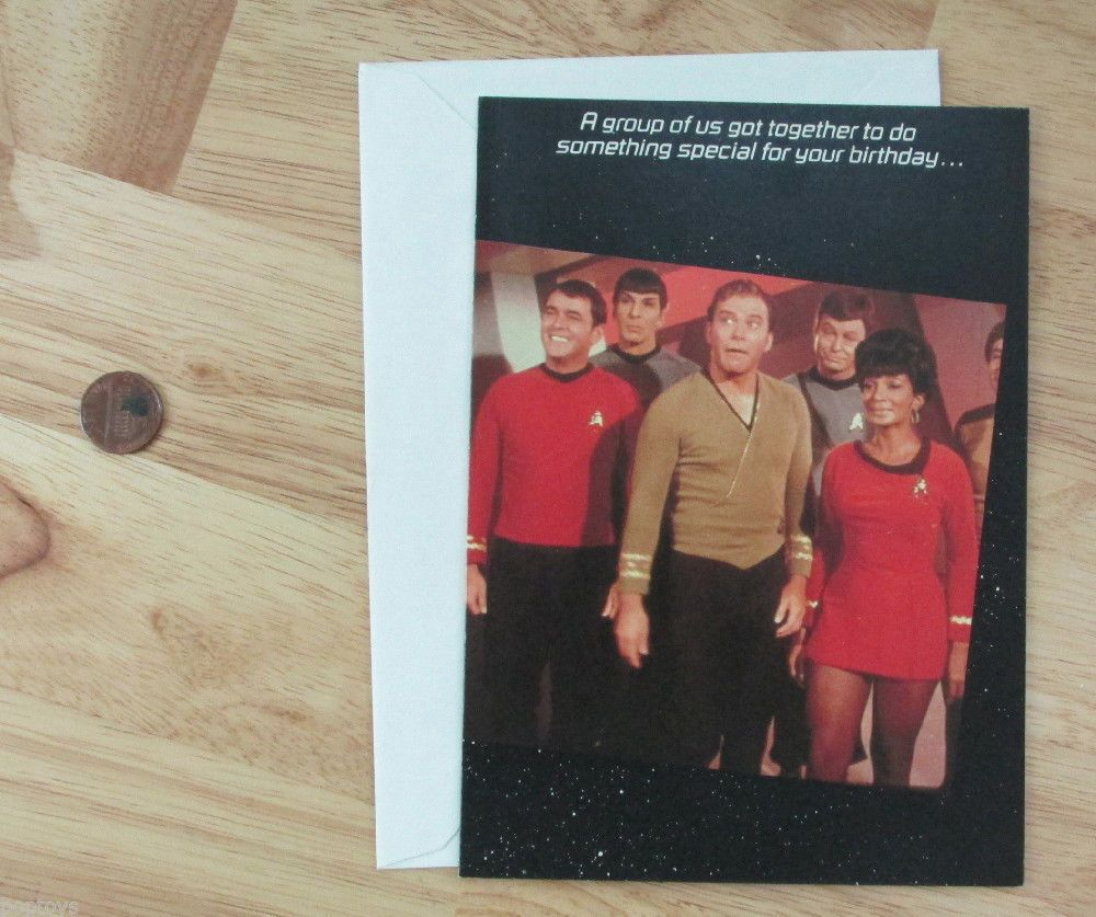 BIRTHDAY card Star Trek '86 vintage Captain KIRK Ukura Scotty Spock McCoy GROUP