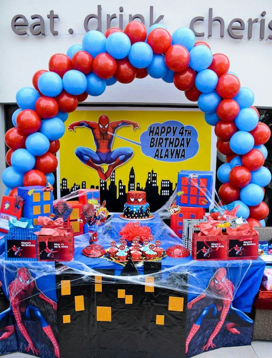 Cake Table Spiderman Birthday Party Spiderman Birthday