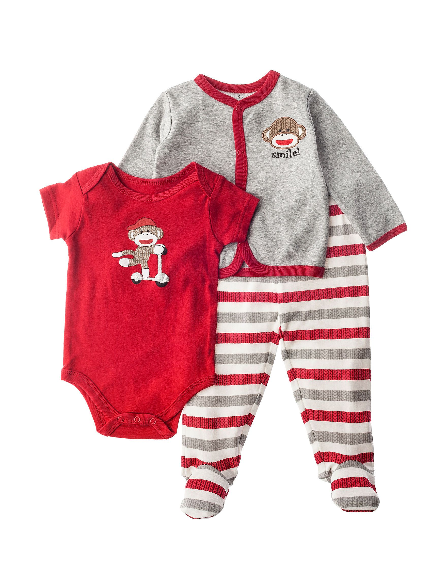 Baby Starters 3 pc Sock Monkey Footed Pants Set Baby 3 9 Mos